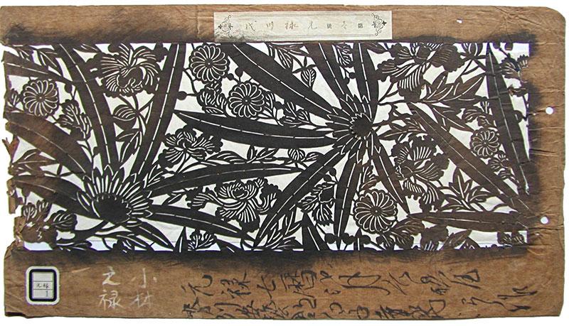 Brunt pappersark med ett utskuret mönster. Mönstret är ett botaniskt motiv med stora blad och olika exotiska blommor.