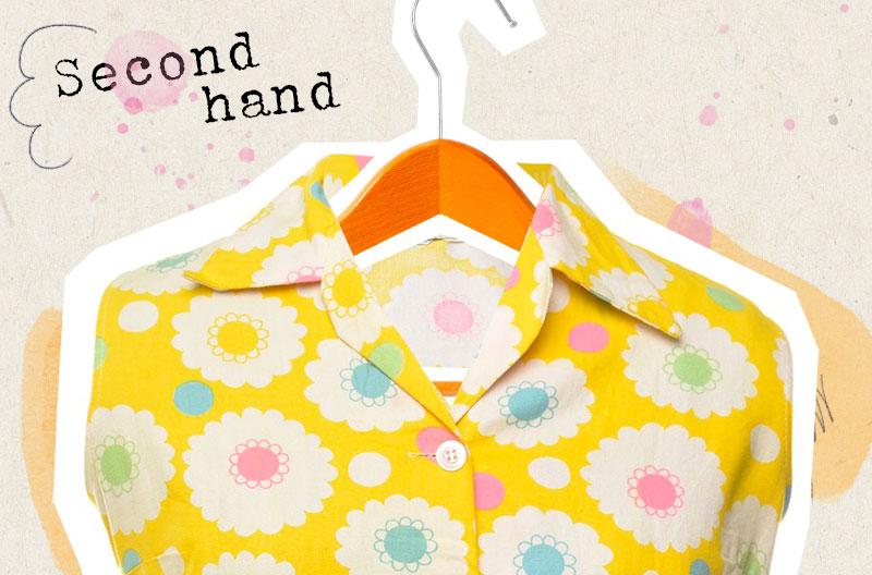 Illustration med en second hand-blus med gult, blommigt retromönster.