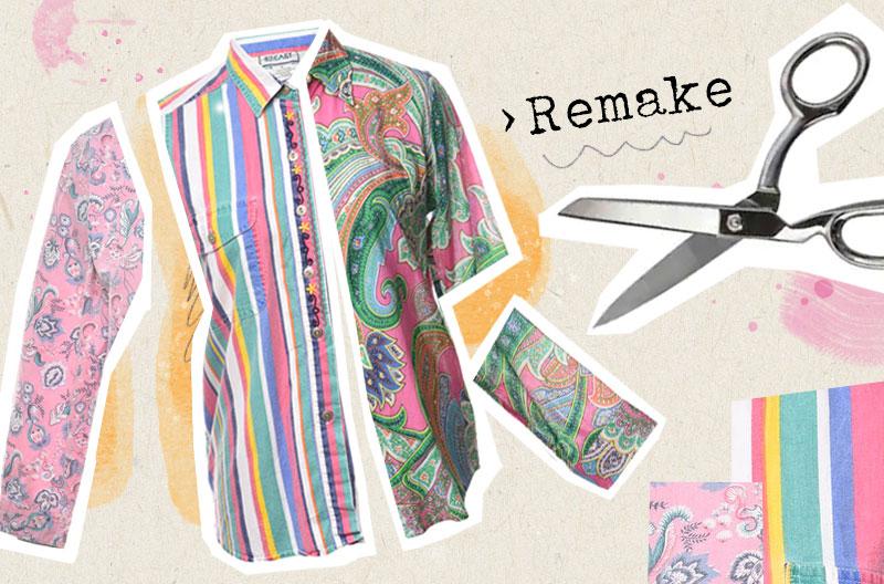 """Illustration med skjorta som består av flera separata delar av mönstrade tyger och en sax, samt texten """"Remake"""". Remake är ett sätt att utöva slow fashion."""