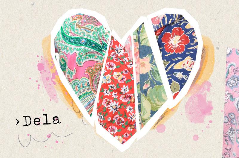 """Illustration med ett hjärta som består av flera sektioner av mönstrade vintagetyger. Hjärtat symboliserar begreppet """"dela"""" inom slow fashion."""
