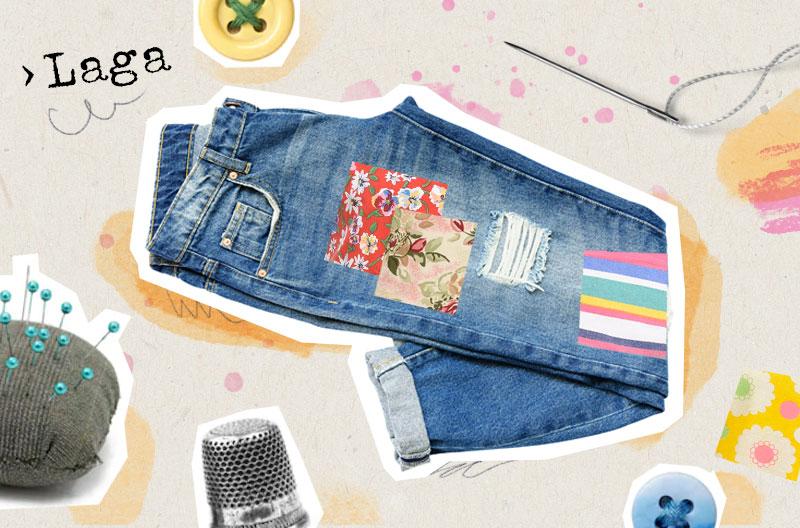 Illustration med lappade jeans, nåldyna, fingerborg, lösa knappar, nål och tråd.