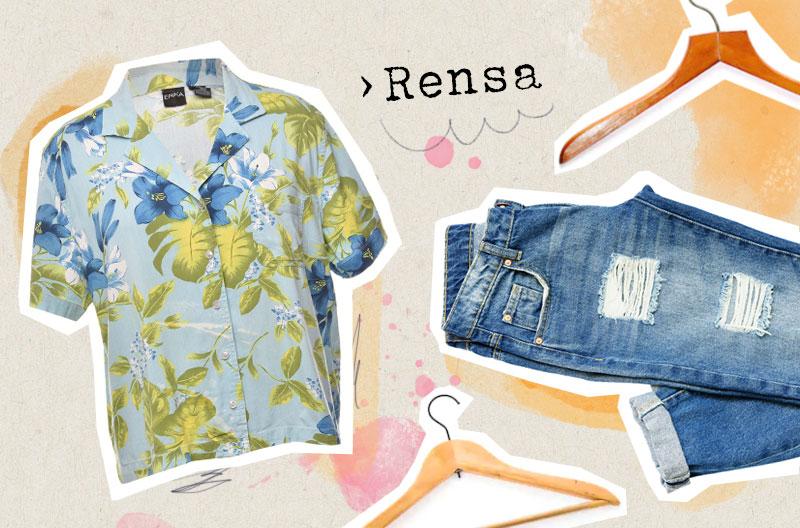 """Illustration med en hawaiiskjorta, ett par jeans och tomma galgar som illustrerar begreppet """"rensa""""."""